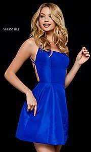 Image of strappy-open-back short Sherri Hill homecoming dress. Style: SH-52154 Back Image