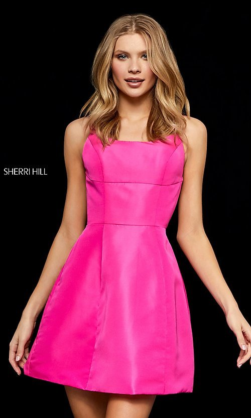 Image of strappy-open-back short Sherri Hill homecoming dress. Style: SH-52154 Detail Image 1