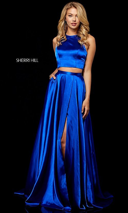 d504becb5e Image of high-neck Sherri Hill two-piece long prom dress. Style
