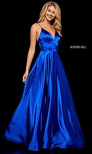 Image of Sherri Hill long formal prom dress with pockets. Style: SH-52195 Detail Image 2