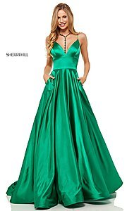 Image of Sherri Hill long formal prom dress with pockets. Style: SH-52195 Detail Image 1