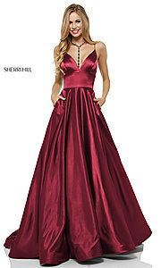 Image of Sherri Hill long formal prom dress with pockets. Style: SH-52195 Detail Image 3
