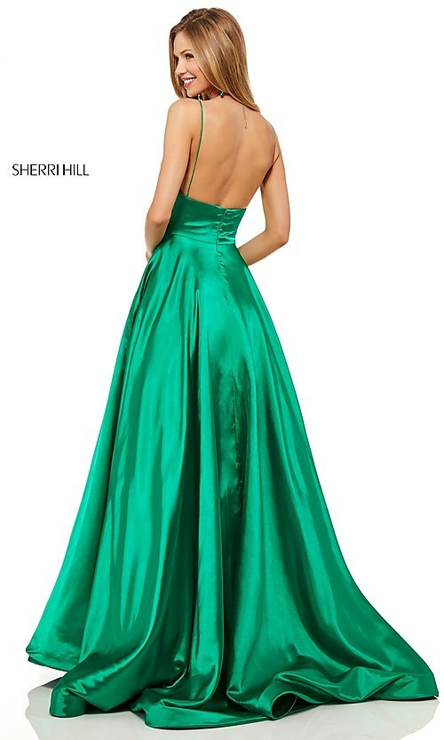 Image of Sherri Hill long formal prom dress with pockets. Style: SH-52195 Back Image