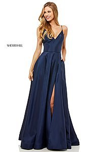 Image of Sherri Hill v-neck long prom dress with pockets. Style: SH-52245 Detail Image 2