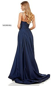 Image of Sherri Hill v-neck long prom dress with pockets. Style: SH-52245 Detail Image 3