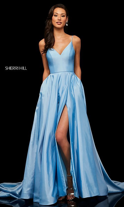 Image of Sherri Hill v-neck long prom dress with pockets. Style: SH-52245 Detail Image 4