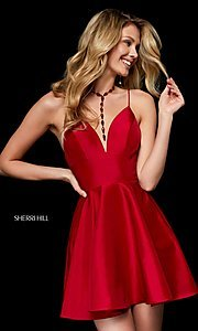 Image of v-neck Sherri Hill short a-line homecoming dress. Style: SH-52155 Front Image