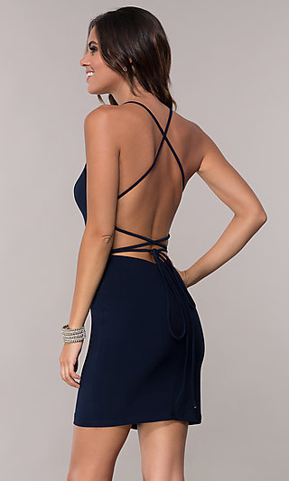 Alyce Short Homecoming Dress with Corset-Style Back