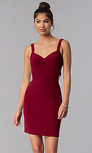 Image of caged-open-back Alyce short homecoming party dress. Style: AL-4003 Front Image