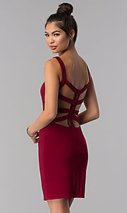 Image of caged-open-back Alyce short homecoming party dress. Style: AL-4003 Back Image
