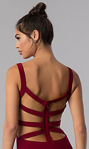 Image of caged-open-back Alyce short homecoming party dress. Style: AL-4003 Detail Image 1