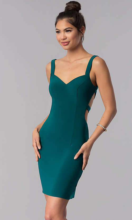 Image of caged-open-back Alyce short homecoming party dress. Style: AL-4003 Detail Image 4