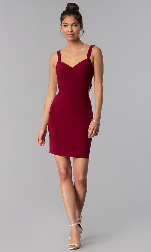 Image of caged-open-back Alyce short homecoming party dress. Style: AL-4003 Detail Image 2