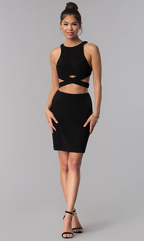 Image of two-piece Alyce short high-neck homecoming dress. Style: AL-4006 Detail Image 2