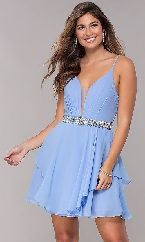 Image of v-neck short chiffon homecoming dress by Alyce. Style: AL-A4046 Detail Image 2