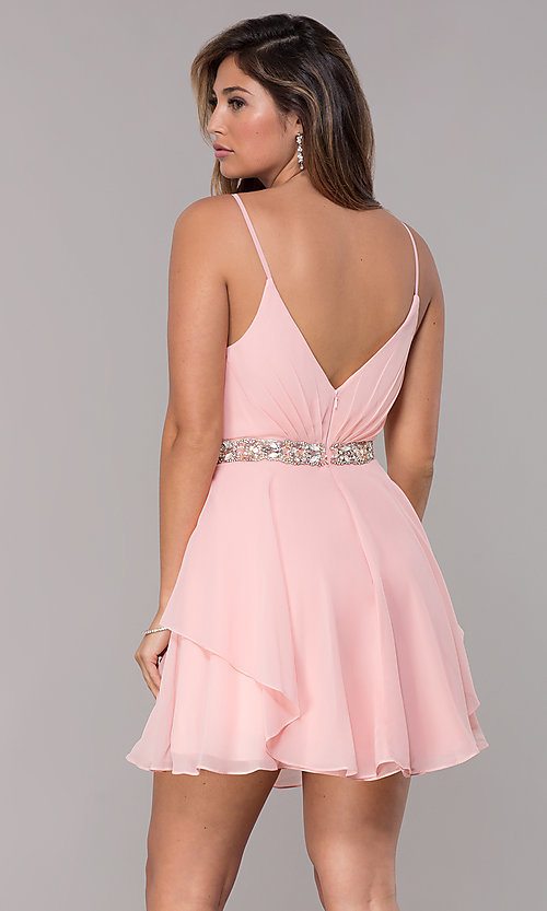 Image of v-neck short chiffon homecoming dress by Alyce. Style: AL-A4046 Back Image
