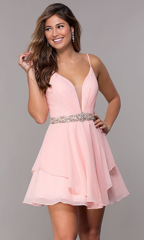 Image of v-neck short chiffon homecoming dress by Alyce. Style: AL-A4046 Front Image