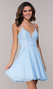 Image of beaded-lace-bodice short open-back homecoming dress. Style: AL-4049 Front Image