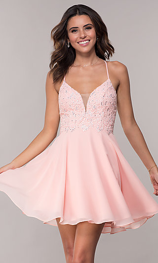 Beaded-Lace-Bodice Short Open-Back Homecoming Dress