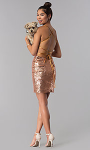 Image of open-back short rose gold sequin party dress by Alyce. Style: AL-4057 Detail Image 3