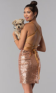Image of open-back short rose gold sequin party dress by Alyce. Style: AL-4057 Front Image