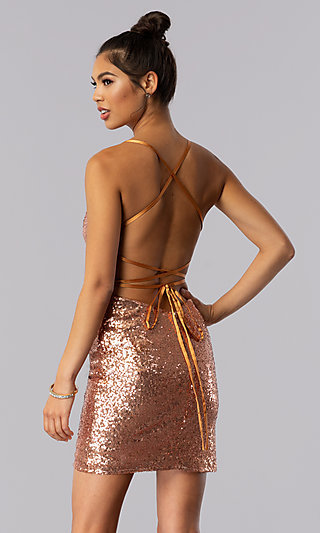 Open-Back Short Rose Gold Sequin Party Dress by Alyce