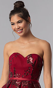 Image of strapless sweetheart homecoming dress with sequins. Style: AL-A2650 Detail Image 6