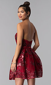 Image of strapless sweetheart homecoming dress with sequins. Style: AL-A2650 Detail Image 4