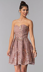 Image of strapless sweetheart homecoming dress with sequins. Style: AL-A2650 Front Image