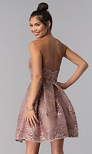 Image of strapless sweetheart homecoming dress with sequins. Style: AL-A2650 Back Image