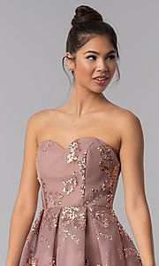Image of strapless sweetheart homecoming dress with sequins. Style: AL-A2650 Detail Image 1