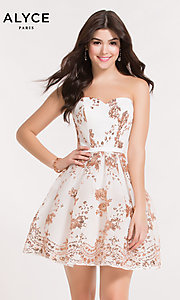 Image of strapless sweetheart homecoming dress with sequins. Style: AL-A2650 Detail Image 7