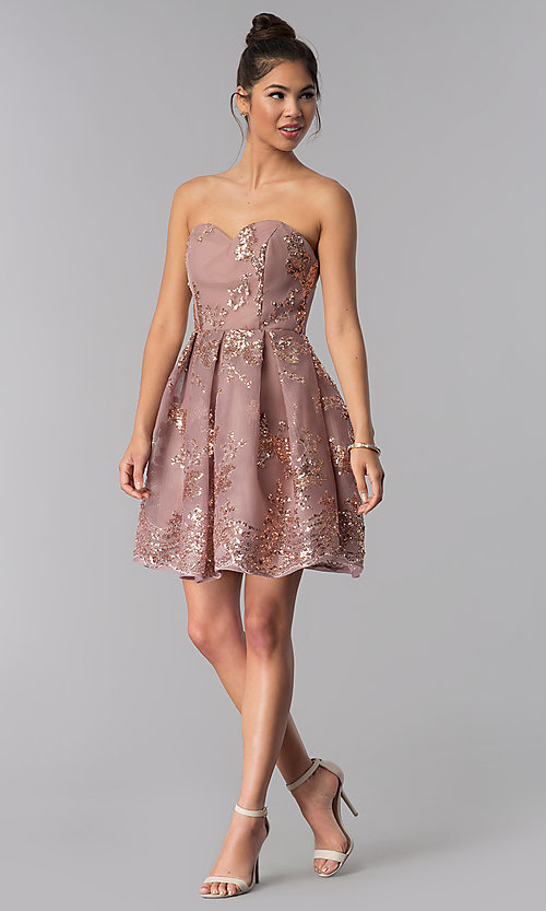 Image of strapless sweetheart homecoming dress with sequins. Style: AL-A2650 Detail Image 3