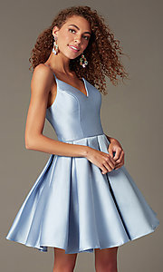 Image of semi-formal a-line Alyce homecoming dress in satin. Style: AL-3764 Front Image