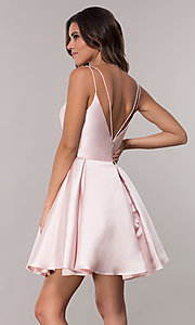 Image of semi-formal a-line Alyce homecoming dress in satin. Style: AL-3764 Detail Image 4