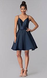 Image of semi-formal a-line Alyce homecoming dress in satin. Style: AL-3764 Detail Image 2