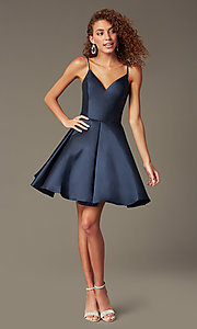 Image of semi-formal a-line Alyce homecoming dress in satin. Style: AL-3764 Detail Image 1