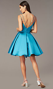 Image of semi-formal a-line Alyce homecoming dress in satin. Style: AL-3764 Detail Image 8