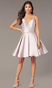 Image of semi-formal a-line Alyce homecoming dress in satin. Style: AL-3764 Detail Image 5