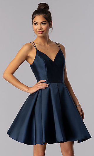Semi-Formal A-Line Alyce Homecoming Dress in Satin e28e52768