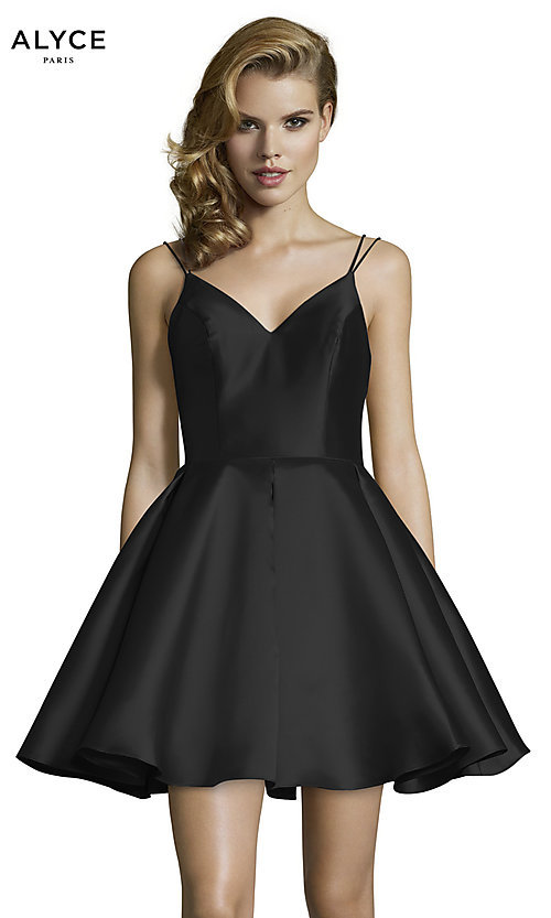 Image of semi-formal a-line Alyce homecoming dress in satin. Style: AL-3764 Detail Image 7