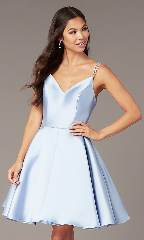 fb0618221cb Image of semi-formal a-line Alyce homecoming dress in satin. Style