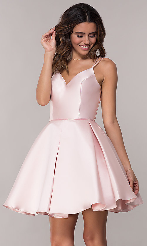 Image of semi-formal a-line Alyce homecoming dress in satin. Style: AL-3764 Detail Image 3
