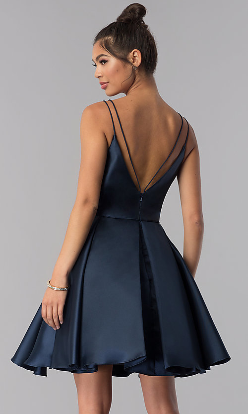 V Neck Open Back Alyce Short Homecoming Dress In Satin