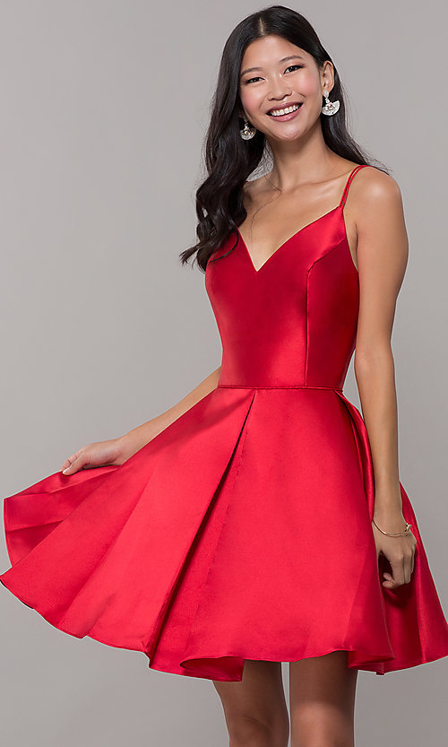 Image of semi-formal a-line Alyce homecoming dress in satin. Style: AL-3764 Detail Image 6