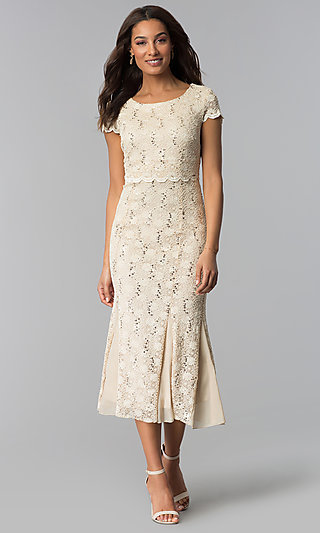 Lace Midi Wedding-Guest Dress with Short Sleeves