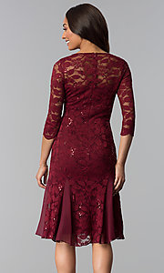 Image of sleeved knee-length lace wedding-guest dresses. Style: SF-8864 Back Image
