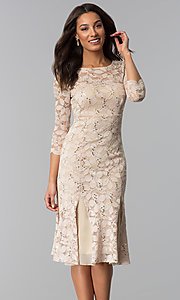 Image of sleeved knee-length lace wedding-guest dresses. Style: SF-8864 Detail Image 3