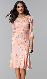 Image of sleeved knee-length lace wedding-guest dresses. Style: SF-8864 Detail Image 2