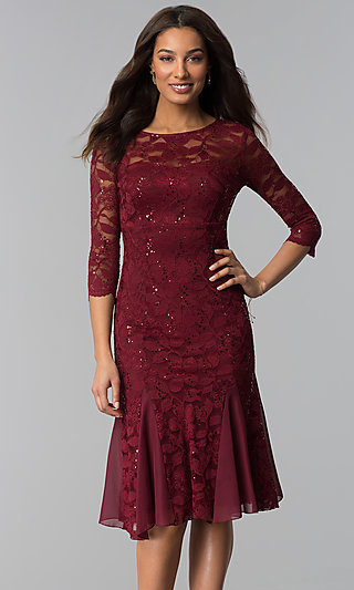 Sleeved Knee-Length Lace Wedding-Guest Dress